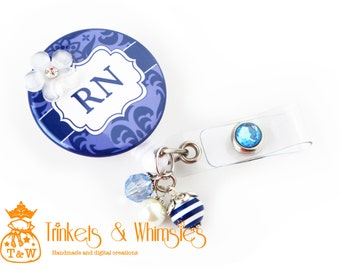 Damask Shades of Blue | RN | Registered Nurse Retractable Badge Holder