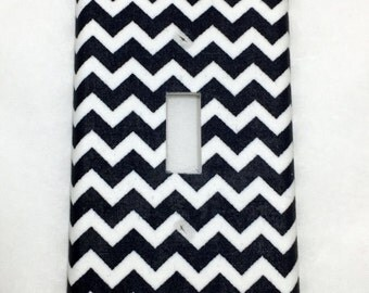 Navy Chevron Light Switch Plate Cover / Outlet Cover / Bedroom / Home Decor / Baby Shower Gift / Nursery Decor / Kid's Room / Nautical