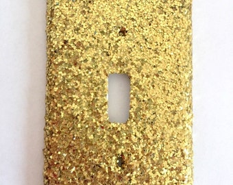 Gold Glitter Single Light Switch Cover / Outlet Cover / Switch Plate / Room Decor / Glamorous / Home Decor / Nursery / Baby Shower Gift