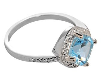 925 Sterling Silver 3 ct Square Blue Topaz and Diamond Ring