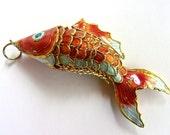 Asian Cloisonné Enamel Fish Pendant, Articulated, Orange Blue White, Vintage 3.75 inches