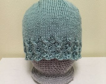 Light Blue Hand Knit Hat with Cables