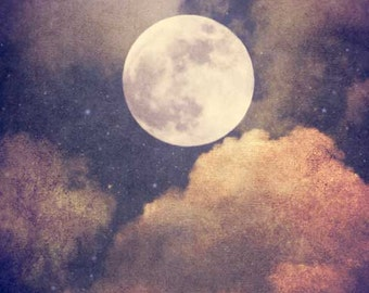 """Full Moon, Sky Photography, Cloud Photography, Starry Night Photo, Celestial Nursery, Celestial, Fine Art Photography """"To the Moon and Back"""""""