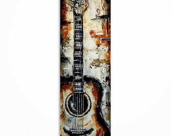 Guitar painting, Acoustic Guitar art, Music art, Guitar wall art, Original acoustic guitar painting on 36x12 inch canvas - MADE TO ORDER