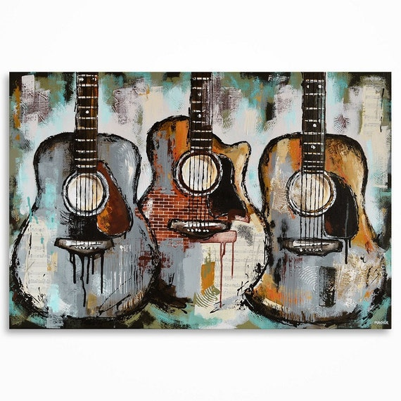 Guitar painting Gift for a musician Music Art Original large