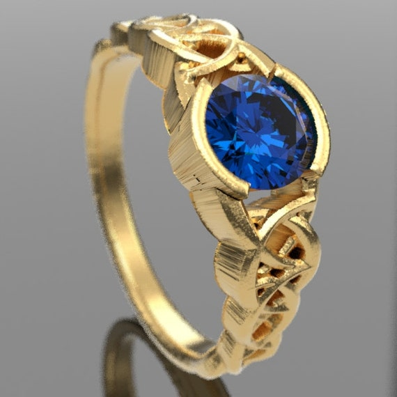 Gold Celtic Wedding Ring With Blue Sapphire and Dara Knotwork Design in 10K 14K 18K or Palladium, Made in Your Size Cr-430