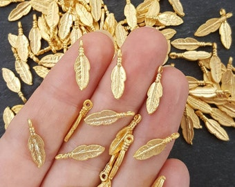 NEW - 10 Mini Rustic Tribal Feather Charms - 22k Matte Gold Plated