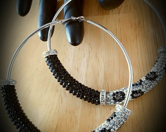 Crystal Beaded Color Block Hoop Earrings-Colors Black/Leopard (Large) 85mm 3.51 inches