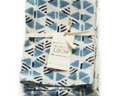 Indigo Blue Cotton Tea Towel- Handprinted Kitchen Towel- Triangle Geo Pattern