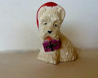 Scotty Dog Figurine 1974 Vintage Christmas Decoration White Scotty Dog with Santa Cap with Gift Christmas Figurines Dog Figurines