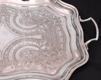 Large Cavalier Silver Plated Tray, Silver Gallery Tray with Handles, Chashed Silver Drinks Tray, Silver Coffee Table Tray, Butlers Tray
