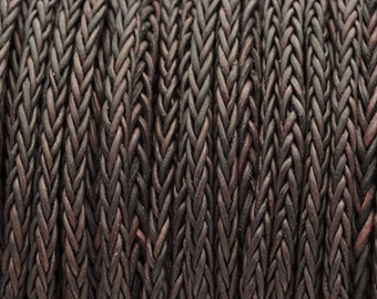 3MM 8-Ply Braided Bolo Leather Vintage Aubergine - Qty. - 5M/5.46YD