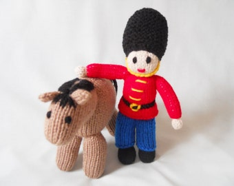 Toy Soldier Doll and Horse, Hand Knitted Soldier and Horse, HandMade Soldier, Baby Gift, Little Boy Gift, Nursery Decor.