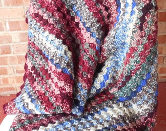 Large Crochet sofa throw, large afghan, very soft handmade throw, soft sofa throw, multi color afghan, large couch throw, Ready to ship