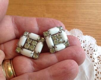 Vintage White Milk Glass Clip Earrings