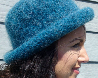 Bowler -- Dark Teal Rolled Brim Felted Hat