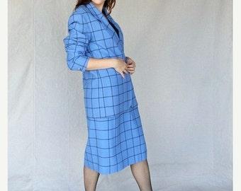 SEXY 50% OFF SALE Posh Periwinkle Blue Large Plaid Gingham Check Secretary Suit 1970's Blazer Jacket & Aline Skirt Set by Pendleton size 12
