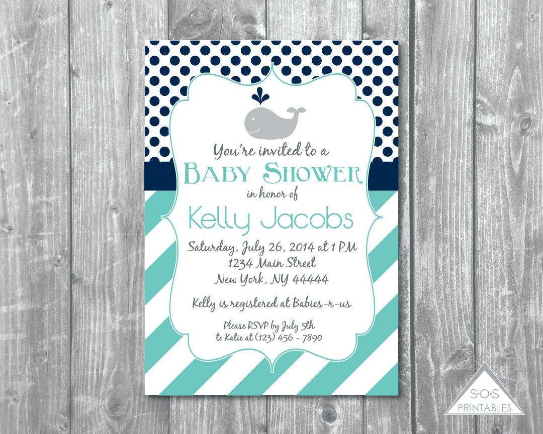 blue whale baby shower invitation stripes and polkadots boy