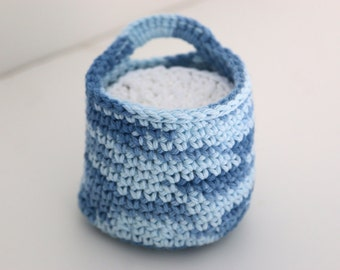 Variegated Blue Crochet Basket with Face Scrubbies, Gift Set, Makeup Remover Washable Pads Wash Clothes
