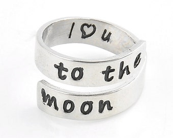 I love you to the moon Adjustable Ring