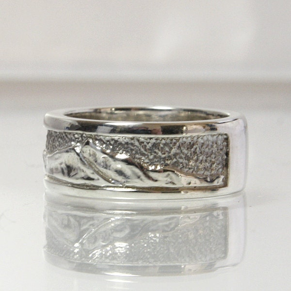 mountain wedding band ring sterling silver by