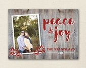 Peace & Joy Holiday Greeting Card - Personalized Photo Card - Christmas Card - Printable Holiday Card