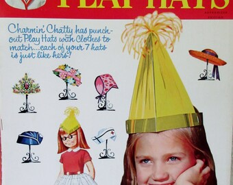 Vintage WHITMAN Charmin' Chatty Play Hats Paper Doll Book Unpunched 1964 by Mattel ** Epsteam