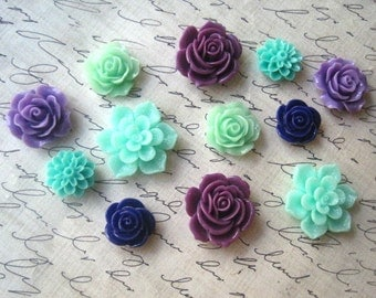 Refrigerator Magnets, 12 pc Flower Magnets, Purples and Greens, Housewarming Gifts, Hostess Gifts, Wedding Favors