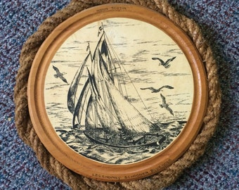 "Vintage Souvenir Wall Hanging, Lloyd G. Nowlan Port Hole Scene ""Legendary Schooner Bluenose"""