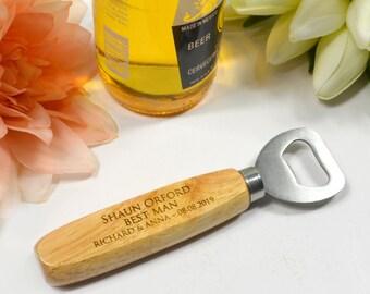 Engraved Wooden Handle Bottle Opener Wedding Bridal Party Gift