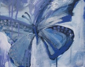 abstract butterfly painting - instant download art - periwinkle blue