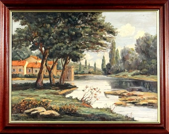 Superb ca.1935 French Village by the River Painting Oil/Canvas/Frame Signed
