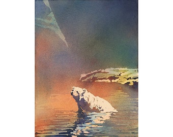 Polar bear resting in water.  Polar bear art Watercolor polar bear Bear painting Watercolor painting  Colorful print Wall art. Home decor