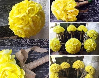 Yellow Ranunculus 17 Piece Wedding Flower Set, Yellow Bridal bouquet, Yellow Bouquet, Wedding Bouquet, Rustic Bouquet, Yellow Wedding