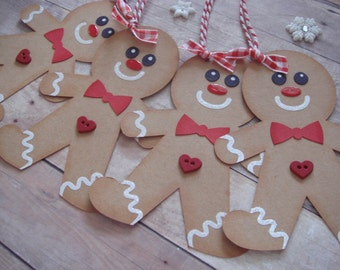 Gingerbread Gift Tags, Christmas Gift Tags, Gingerbread Man, Christmas Cookies, Cookie Exchange Gift Tag, Holiday tags,Gingerbread ornaments