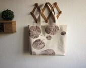 Big canvas bag, custom order, big leaves stamp