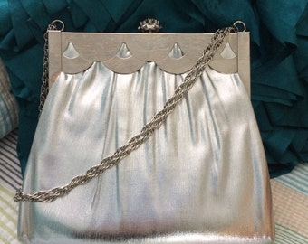 Vintage Harry Levine silver evening handbag