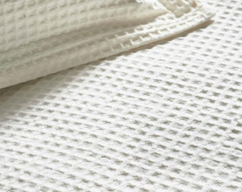 """70"""" x 90"""" Light Waffle Organic Cotton Blanket - Natural Color, Unbleached, Undyed, Eco-friendly (Queen-Size / Full-Size)"""
