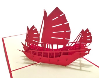 Junk Boat Popup Greeting Card - Red White Ship Pop-Up Paper Art - Birthday 3D Card