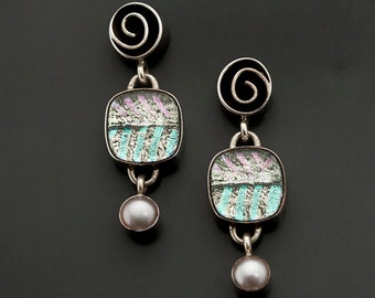 Dichroic Glass Earrings With Shiny Pastels, Light Greens and Pearls