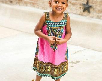 Dashiki Dress Pink - Kids