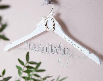 Personalised Lucky Horseshoe Wedding Hanger - Wedding Horseshoe - Traditional Wedding - Lucky Charm - Bridal Hanger - Country Wedding - Gift