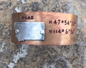 Montana hand stamped and hammered GPS copper bracelet cuff