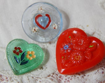Hearts and Flowers - Vintage Glass Buttons 3