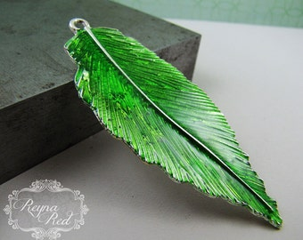 Silvertone & Bright Green Enamel Leaf Pendant,  1 pc, Spring, green pendant, foliage, jewelry making, beading, focals - reynaredsupplies