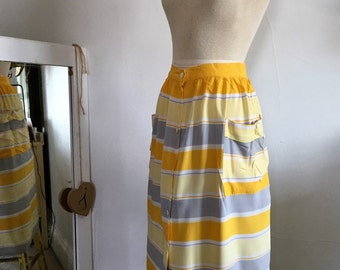 Striped summer skirt, Rayon, Made in Italy size M-6US 42 Italian