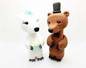 Bear couple  wedding cake toppers