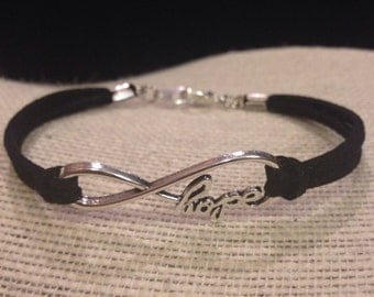 Silver&Black Hope Infinity Symbol Bracelet
