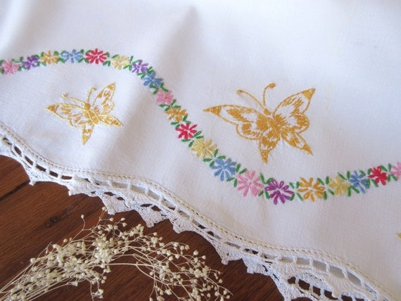 Embroidered pillow case with flowers butterfly