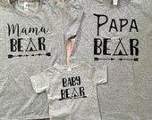 Mama Bear, Papa Bear, Baby Bear, Brother, Sister, Man Cub, Bear Cub, Aunt Bear, Uncle Bear, Grandpa Bear, Grandma Bear, T-Shirt Set